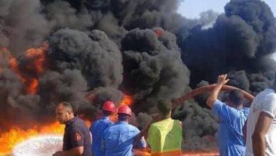 حريق ماسورة الطريق الصحراوي