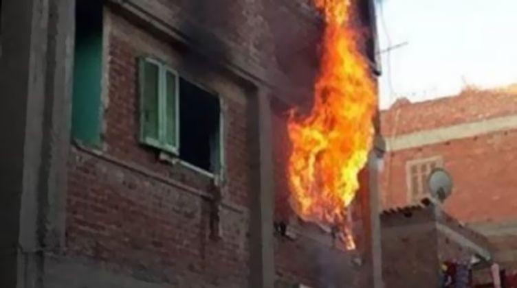 جريق منزل بمركز ملوى