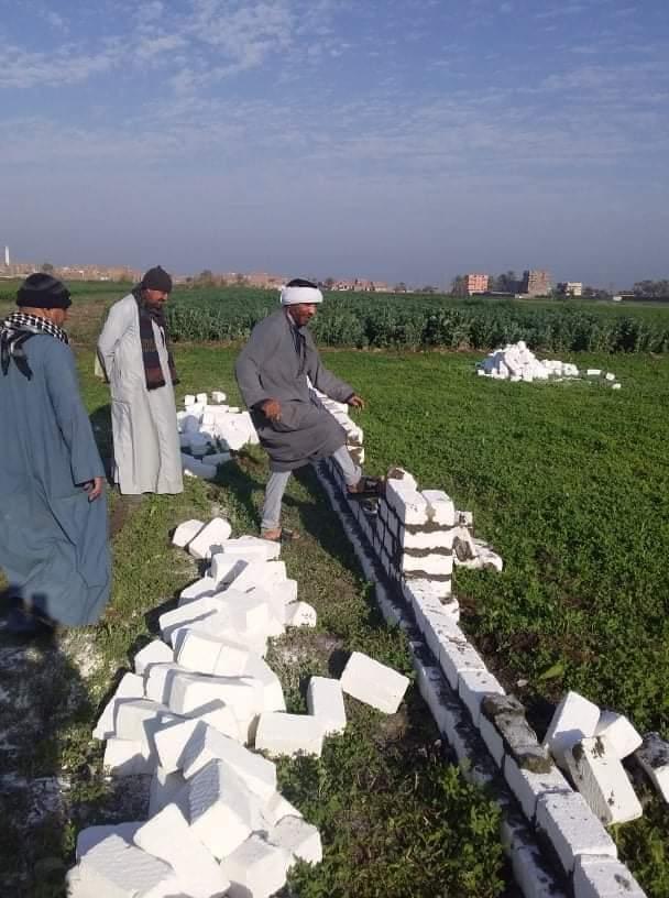 إزالة ٣ حالات بناء مخالف علي أرض زراعية بمركز أسيوط