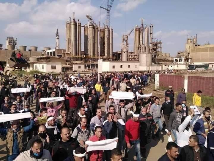 اعتصام العاملين بمصنع السماد اعتراضا على قرارات نقله