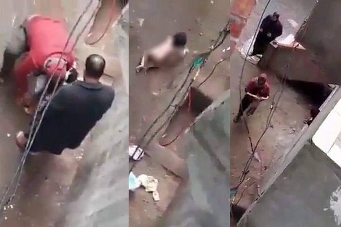 تجريد أب ملابس طفلته الرضيعة في الشارع
