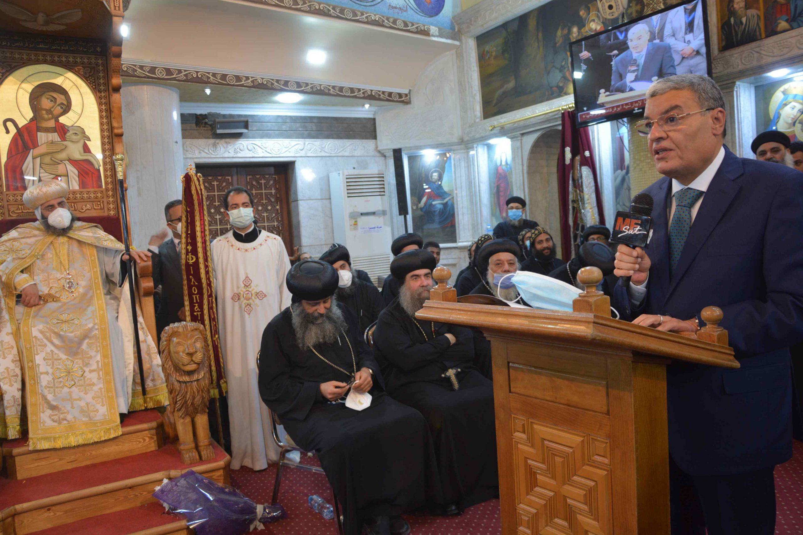 محافظ المنيا فى حفل تجليس اسقف ابو قرقاص