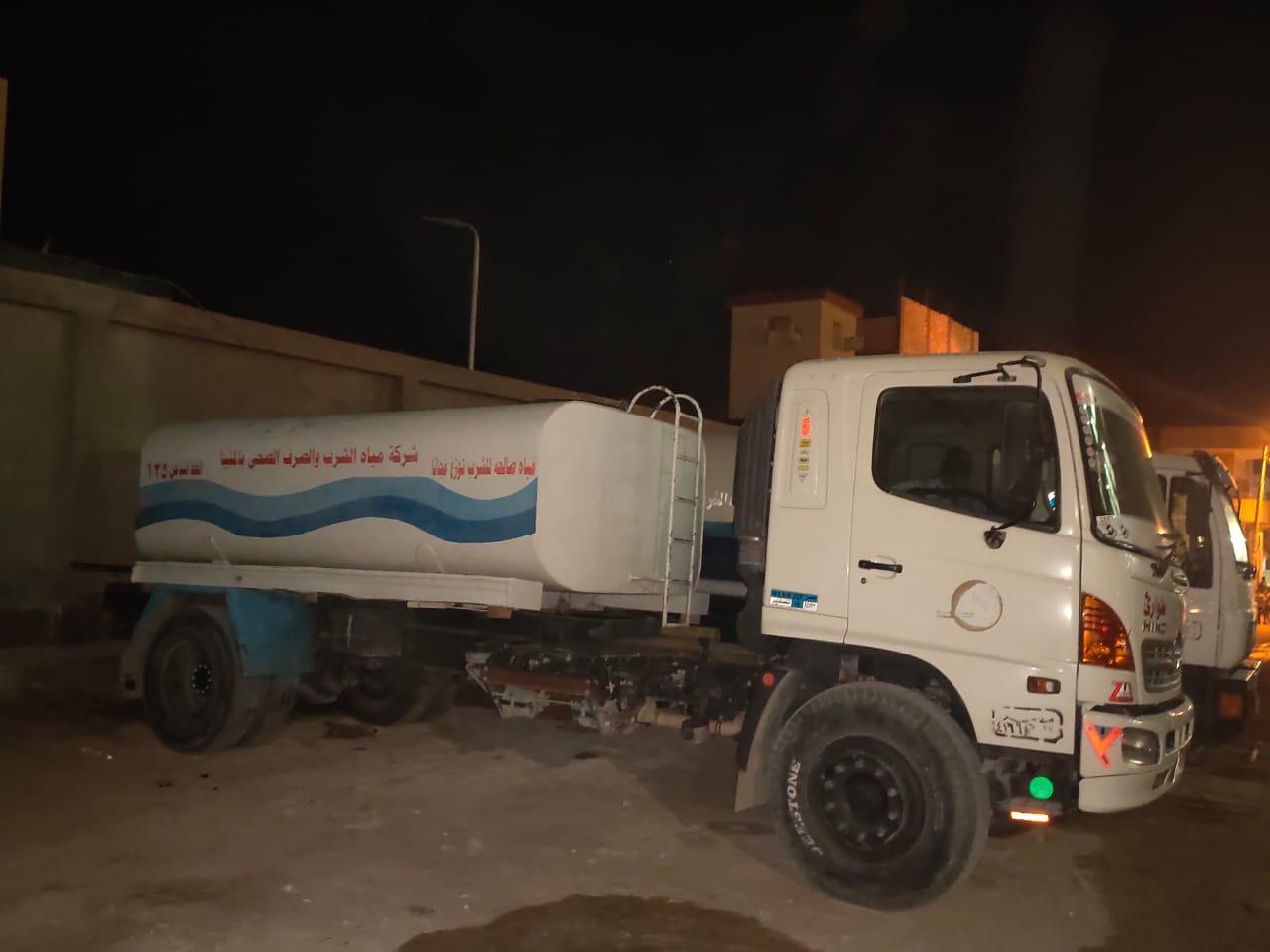سيارات مياه الشرب فى دير العذراء